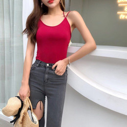 Cotton Tanks Australia - Sexy Camisole Female Cross Backless Bottoming Shirt Cotton With Chest Pad Beauty Back Strap Vest Outer Wear Shirt Trend Tank Top