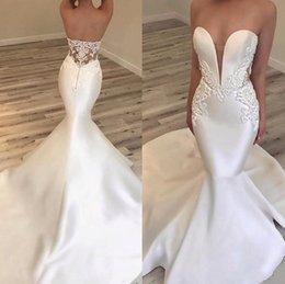 Lace Wedding Dresses Australia - 2019 New Luxury Arabic Mermiad Wedding Dresses Sweetheart Satin Lace Appliques Beads Sleeveless Open Back Sweep Train Custom Bridal Gowns