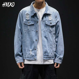 male jean styles Canada - HMXO 2020 New Fashion Men's Frayed Design Denim Jacket Retro Style Jeans Jacket Casual Street Wear Spring Male Clothes Large 5XL