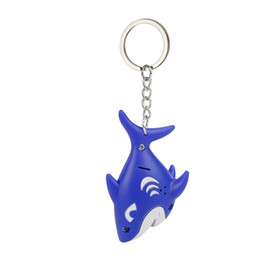 Sound Gifts Australia - Fashion Cute Cartoon Blue Shark Keychain With LED Light Sound Keyfob Kids fun Toy Gift Z