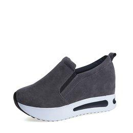 c4a1689d Zapatos de vestir Plataforma de mujer Creepers Mujer Slip On Mocasines  Suede Banda Elástica Coser Casual Otoño Zapato Damas Calzado