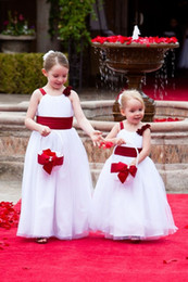 Ruffled floweRs online shopping - 2019 Lovely A Line Flower Girls Dresses Red Sashes Floor Length First Communion Dresses Girls Pageant Gown For Country Wedding Wear