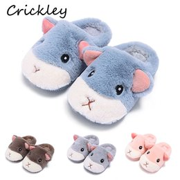 cute slippers for kids Australia - Kids Slippers Cute Cartoon Hamster Indoor Shoes for Boys Girls Winter Home Floor Non Slip Slippers Keep Warm Soft Children Shoes