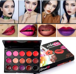 Wholesale Lipstick Brands Australia - Wholesale 15 Color Pop Feel Brand Long Lasting Lips Palette Sexy Lipgloss Waterproof Brown Purple Red Lip Matte Lipstick Pallete Cosmetics