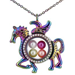 pegasus necklace wholesale NZ - C1505 Rainbow pegasus horse Circular Rhinestone Magnetic Glass Can open Floating Locket Pearl pendant Women Charms Necklace