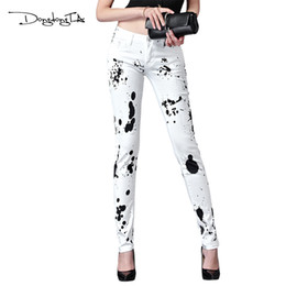 $enCountryForm.capitalKeyWord Australia - Dongdongta New Women Summer Jeans 2017 Original Design Full Length Painted Washed Skynny Pencil Pants Mid Waist Fashion Jeans