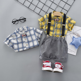 Product Brand Color Australia - New Boy Baby Set T-Shirt + Bib Pants Fashion Plaid Pattern Handsome Children's Wear Cotton Design Hot Products 2 Color Free Shipping
