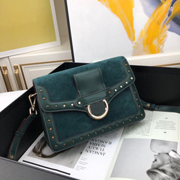 design genuine leather NZ - deep green suede velvet cotton genuine leather with silver small nail design top quality lady shoulder bag square crossbody bag with box