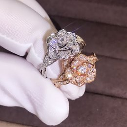 diamond cluster ring size Australia - Fashion delicate diamond ring 18K rose gold plated cubic zirconia jewelry rose flower girl gift ring Size 5 6 7 8 9 10 11#