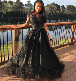 Formal Evening Gowns Australia - Black Ball Gown Prom Dresses For Black Girls 2019 Sheer Jewel Neck Tulle Lace Floor Length Formal Evening Dresses Vestidos DP0317