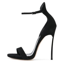 $enCountryForm.capitalKeyWord Australia - Casual Designer Sexy lady fashion women pumps Black suede one strappy platform ankle wrap high Heels sandals shoes