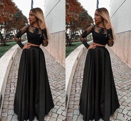 simple nude art Australia - New Elegant Two Pieces Black Evening Dresses 2019 Illusion Long Sleeves Appliques A Line Formal Party Evening Gown Simple Vestidos De Fiesta