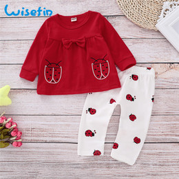 ladybug clothing UK - Wisefin Newborn Girl Clothing Set Long Sleeve Ladybug Baby Outfits For Girl Winter Autumn Red Cute Bow Infant Girl Clothes Set Y19050801