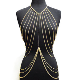 multilayer chains NZ - Sexy Lady's Layered Crossover Body Chain Gold Color Multilayer Tassel Necklace Bikini Waist Belly Chain Boho Beach Body Jewelry