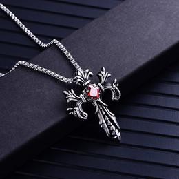 $enCountryForm.capitalKeyWord Australia - Mens Titanium Steel Cross Necklace Gothic White Red Gemstone Diamond Punk Arrow Pendants Necklaces Statement Collar Men Boutique Jewelry