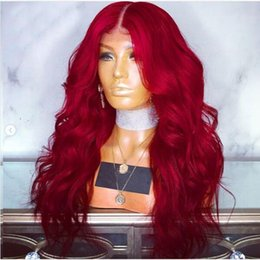Red daRk bRown wigs online shopping - Red Human Hair Wigs Wavy Remy Brazilian Pre Plucked Virgin Hair Glueless Red Human Hair Lace Front Wig For Black Women