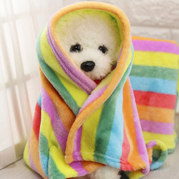 rainbow bedding Australia - Flannel Pet Dog Blanket Rainbow Dog Cat Bed Mat Pets Products Dogs Air Condition Cover Cushion For Small Medium Dogs Supplies