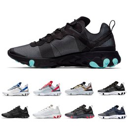 Leather seam online shopping - New Jade Grid Pack Taped Seams React Element Women Men Running shoes Designer Trainers Black White s Sports Sneakers