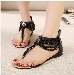 $enCountryForm.capitalKeyWord NZ - new pearl chain beads with rhinestone sandals flat heel flip flops fashion sexy womens sandal shoe ePacket Free Shipping