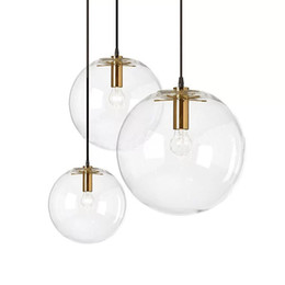 $enCountryForm.capitalKeyWord UK - Nordic Glass Ball Pendant Lighting Clear Bubble Chandelier Suspension Globe Lamp Golden  Copper  Black color