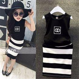 $enCountryForm.capitalKeyWord Australia - new pattern fashion movement summer dress girls clothes baby black and white striped dress children Clothing K0335