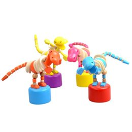 $enCountryForm.capitalKeyWord UK - 1 Piece Wooden Dancing Dinosaurs Children Puzzle Animal Toys Desk Ornaments Cartoon Wood Dinosaur Barrel Fun Early Teaching Aids