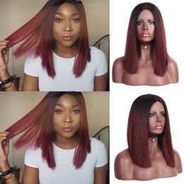 Lace Front Synthetic Wigs Price Australia - Factory price 1pc Women Fashion Lady Red BoBo Short Front lace Hair Straight Synthetic Lace Inner Net Wigs Stand Hot Mar18
