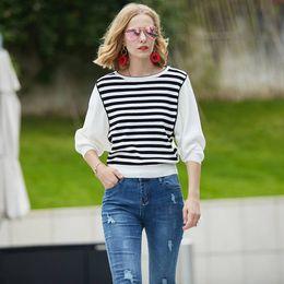 $enCountryForm.capitalKeyWord Australia - 2019 Brand Design Black Casual Women Top T-shirt Spring V-neck Pure White Knit Top Elegant Black Ladies Knit Top T-shirt Y19072001