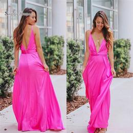 Pear Color Dress Australia - 2019 V-neck V-back Satin Floor Length Prom Dresses Sleeveless High End Quality Evening Party Dress Hot Sales