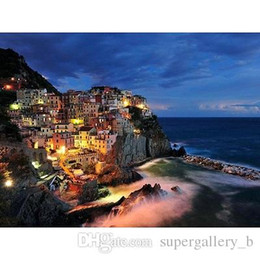high quality scenery painting Australia - Free Shipping,Pure Hand-painted & HD Print Seaside Night Scenery Art Oil painting On Canvas,High Quality Wall Art Home Decor l225