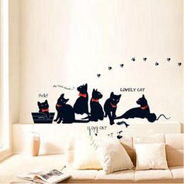 Black Cat Decor Australia - Vinyl Wall Stickers Wallpaper Animal Cartoon Black Cat Family Living Room Sofa Wall Decals House Decoration Poster Home Decor
