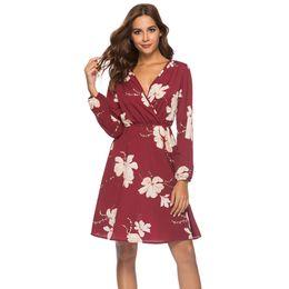 cfa15518f5e19 2019 Summer Beach Dress Women Long Sleeve Black Navy Blue Wine Red Sexy V  Neck Floral Chiffon Causal Dress for Ladies