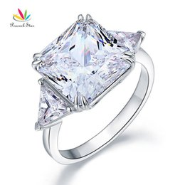 star 5.5 NZ - Peacock Star Solid 925 Sterling Silver Three-stone Luxury Ring Anniversary 8 Carat Created Diamante Cfr8155 J190627