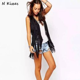 Comfort Springs Canada - Nkisses 2018 Spring Women Fashion Vest Tassle Style Pattern Solid Black Vest Female High Quality Sexy Comfort Open-stitch Tops