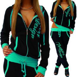 Women Cat Suits Australia - Big lazy cat Women Knitting Sport Suit 2019 Autumn Casual Zipper Letter Turn-down Collar Tops + Long Pants Sporting Clothing Suit