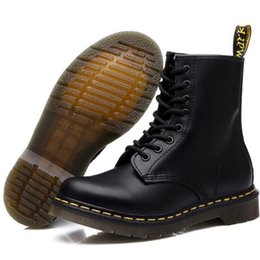649de506612 34-46 taille marque bottes en cuir véritable pour hommes femmes mode bottes  d hiver cheville bas talon Martin Botte moto bottes