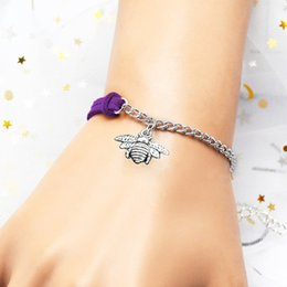 Valentine Gifts Australia - 2019 most popular punk single purple leather suede chain bracelet bangles bee pendant charm womens mens Jewelry pulseira valentines day gift