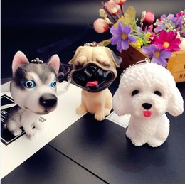 Cartoon 3d Movie Australia - New Cartoon 3D Cute Pet Dog Bulldog Car Keychain Animal Lovely Pug Husky Keyring Bag Charm Trinket Toy For Men Woman Jewelry