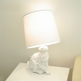 black nickel switches Australia - White Rabbit Table Lights Modern Creative Black White Cloth Lampshade kids table lamp Living Room Bedside Desk Lamp Decor Lamp