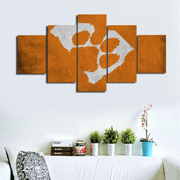 $enCountryForm.capitalKeyWord NZ - Clemson Tigers ,5 Pieces Home Decor HD Printed Modern Art Painting on Canvas (Unframed Framed)