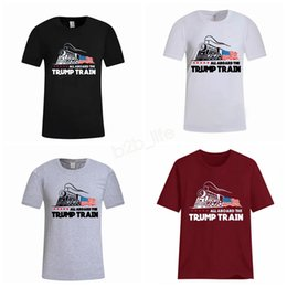 Chinese  Men Donald Trump Train T-Shirt O-Neck Short Sleeve Shirt USA Flag Keep American Great letter Tops Tee ALL ABOARD THE Shirt LJJA2951 manufacturers