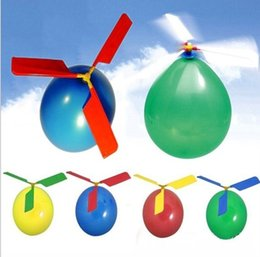 Wholesale Toys Helicopter NZ - Hot Sale Flying Balloon Helicopter DIY balloon airplane Toy children Toy self-combined Balloon Helicopter Party Supplies for Kids