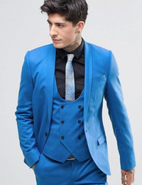 bright suits Australia - Bright Blue Suits Three Pieces (Blazer+Pant+Vest) Wedding Best Men Suits Business Formal Banquet Clothing For Men
