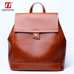 $enCountryForm.capitalKeyWord Australia - Nextstop Genuine Leather Backpack Women Brands Design Back Pack High-quality Vintage Simple College Style School Bag Brown N6602