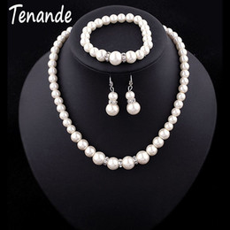 $enCountryForm.capitalKeyWord Australia - Tenande Luxurious Big Statement Crystal Simulated Pearl Necklaces Bangles Earrings for Women Bridal Wedding Jewelry Sets Femme