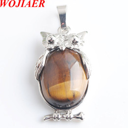 eagle alloys NZ - WOJIAER Eagle Animal Necklaces & Pendants Girl Chakra Reiki Natural Tiger s Eye Oval Convex Gem Stone Beads Jewelry DN8068