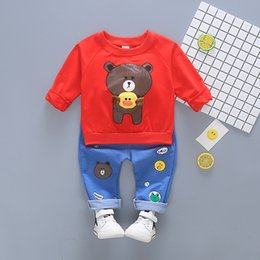 toddler boy 4t Australia - Kids Clothes Autumn Boys Cartoon Bear Clothes set Long-sleeved T-shirt+Pants Toddler Clothing Sets Children Fashion set