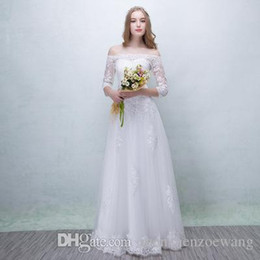 50cad4eadc 2018 Muslim Wedding Dresses Cheap Sexy A Line Strapless Long Sleeve White  Lace Maxi Dresses Simple Fanshion Formal Bridal Gowns