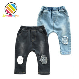 China Lemonmiyu Long Infants Boy Trousers Elastic Waist Cotton Baby Jeans Full Length Pants Newborn Cartoon Mid Casual Spring Pants Y190529 cheap newborn baby boy jeans suppliers