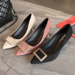 $enCountryForm.capitalKeyWord NZ - Hot Sale-2019 Shoe Single Metal Square Buckle High-heeled Shoes Woman Fine With Sharp Size